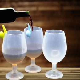 Wholesale Wholesale Travel Wine Glass - Wholesale- New Arrival Fashion Silicone Wine Glass Cups Unbreakable Stemless Rubber Beer Pool Outdoor Cup Glass for Travel