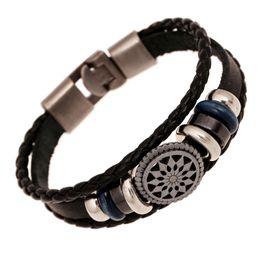 Wholesale Leather Bracelets For Engraving - Wholesale-Handmade braided charm genuine leather bracelet for men fashion vintage engraved bracelets wristband male wrap jewelry