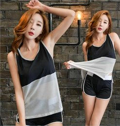 Wholesale Sexy Tracksuits - 2017 women's short sleeve suit fast drying fitness t-shirts women shorts set tracksuit sexy Three pieces