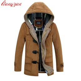 Wholesale Zipper Design Trench Coat - Wholesale- Men Woolen Coats Brand Design Winter Thick Snow Warm Long Cashmere Trench Coats Male Slim Fit Hooded Parkas Windbreaker F1224