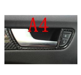 Wholesale Audi A4 Carbon - Carbon fiber door handles frame cover trim auto accessories interior car doorknob box modified strip 3D stickers for Audi A4 A5