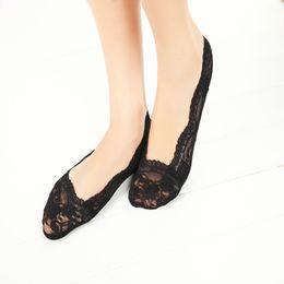 Wholesale Socks Wholesale China - Wholesale-Meias Femininas By China Post -- Promotiona! New2016,women Fashion Short Lace Socks ,black And Color Slipper Socks