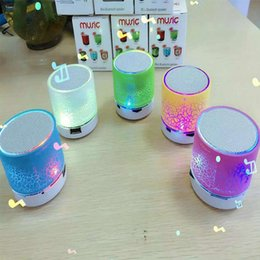 Wholesale Flash Button - Mini Speaker Bluetooth Speakers LED Colored Flash A9 Handsfree Wireless Stereo Speaker FM Radio TF Card USB For iPhone Mobile Phone Computer