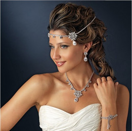 Wholesale Silver Forehead - Pretty Bridal Forehead Band  Necklaces Silver Tone Crystal Wedding Hair Accessories Head Pieces For Girls Ladies