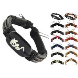 Wholesale Dragon Bracelet Women - dragon genuine leather bracelet adjustable black brown wholesale lots surfer charm chain men women handmade wristband unisex bangle (DJ025)