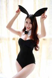 Wholesale Lady Bodysuits Lingerie - Wholesale- Women Lady Deep V Sexy Lingerie Cute Rabbit Ear Uniform Temptation Siamese Tight Bunny Suit