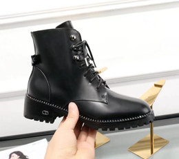 Wholesale Womens High Heels Booties - Black Lace up Leather Boots Female Flat heel Fall Winter New 2018 Womens Combat Booties