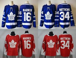 Wholesale New Jersey Hockey - 2018 New Style Toronto Maple Leafs Jersey Men's #16 Mitchell Marner #34 Auston Matthews Red Blue 100% Stitched Embroidery Logos Hockey
