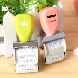 Wholesale Stamps For Scrapbooking - Wholesale- Vintage Mustache Crown Roller Stamp DIY Ink Stamps for Scrapbooking Kawaii Stationery Zakka Decal School Supplies