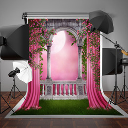 Wholesale curtains for children - SUSU Spring Photo Studio Backgrounds Garden Gallery Pink Curtain Photographic Backdrops Balcony 5x7ft for Wedding Photography Props