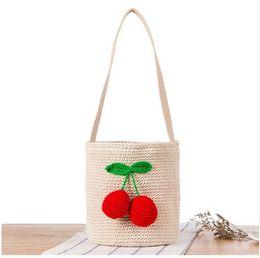 Wholesale Ladies Cherry - Summer Design Cherry Beach Bag Travel Holiday Shoulder Bags Bohemian Women Straw Bucket Bag Ladies Handbags