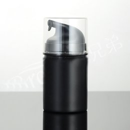Wholesale Wholesale Airless Cosmetic Packaging - Wholesale- 50ML black transparent plastic airless lotion bottle with black airless pump ,transparent lid used for Cosmetic Packaging
