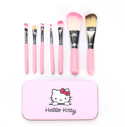 Wholesale Mini Wood Pieces - Hello Kitty Brush 7 pieces Mini Brushes Cosmetic Set kit Tool Makeup Tools High Quality