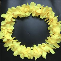 Guirlande de fleurs de soie jaune en Ligne-10 pcs Jaune Hawaiian Leis Jumbo Colliers Festive Party Garland Fleur De Soie Hawaii leis Déguisements Parti Hawaï Plage Amusement