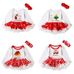 Wholesale Infant Christmas Dress Set - Baby girls Christmas romper dress 2ps set red bow headband+Xmas printing embroidery dress Infants first christmas gifts cute outfits