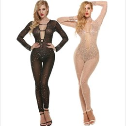 Wholesale Long Sleeve V Neck Transparent - Wholesale- Female Jumpsuits Sexy Transparent Beaded Long Sleeve Deep V Neck Hollow Out Rompers Club Hip Hop 2016 Womens Jumpsuit Feminino