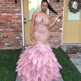 Wholesale Bateau Neck Feathered Prom Dress - New Sexy Black Girl See Through Pink Feathers Prom Dresses with Beads Pink Appliques Long Party Dress Plus Size Evening Pageant Gowns 2017