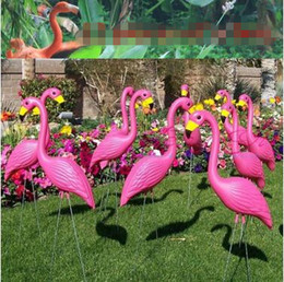 Wholesale Wedding Craft Accessories - Artificial Flamingo Sculpture Garden Courtyard Scenery Decorations Plastic Cement Arts and Crafts Wedding Party Accessories CCA7691 50pcs