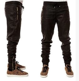 Wholesale Wide Legged Leather Pants - Wholesale-Top Quality Mens Leather Pants Gold Zipper HipHop Pants Trackpants Perfect Fit Slim Motorcycle Leather jogger Pants