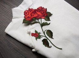 Wholesale Cotton Fabric Rose Pattern - 10Pcs Red Color Rose Blossom Flower Applique Clothing Embroidery Patch Fabric Sticker Sewing Repair Embroidered 2017 Hot Sale
