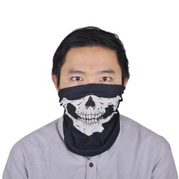 Wholesale Riding Hats For Women - skull skeleton outdoor motorcycle bicycle multi function headwear hat masks scarf half face mask cap neck ghost magic scarf riding around