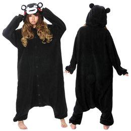 Wholesale Bear Men Costume - Adult Black Bear Kumamon Onesie Cosplay Costume Pajamas Sleepwear For Women Men