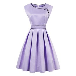 Wholesale Vintage Clothing Lines - Women's Vintage Dresses 1950s Party Women Clothing Retro O-Neck Knee-Length Summer Lady Sleeveless A-Line Dresses Comfortable Pin Up Dresses
