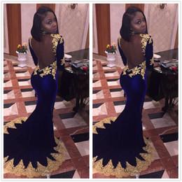 Wholesale T Length Velvet Dress - 2k17 New Black Girls Long Sleeves Velvet Mermaid Prom Dresses Gold Applique Beadedl Backless Formal Party Evening Dresses