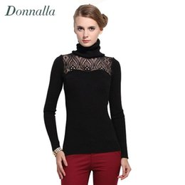Wholesale Turtleneck Splicing - Wholesale-Plus Size Women Sweater Silm Long Sleeve New Sexy Lace Hollow Out Spliced Knit Sweater Pullover Turtleneck Sweaters Pulls Femme