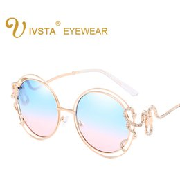Wholesale Glass Inlays - Fashion Rhinestone Inlay Round Sunglasses Women Elegant Brand Designer Big Mirror Sea Sun Glasses For Female UV400