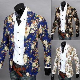 Wholesale Top Korean Jacket Brands - Wholesale- Men's Slim Fit Blazers Printing Suits Jackets Korean Coats Casual Tops High Quality White Blue Black Wholesale Brand M L XL XXL