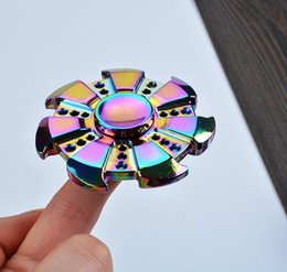 Wholesale Toy Free Wheels - Rainbow Fidget Spinner Fingertip Gyro EDC Hand Spinner Decompression Anxiety Finger Toys Colorful Hot Wheels Aluminum Hand Spinner DHL Free