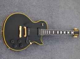 Gitarrengelbbindung online-Kundenspezifische elektrische Gitarre der schwarzen Mattfarbe, gelbe Bindung, Ebenholzgriffbrett, Gitarren des P90 Pickups, freies Verschiffen