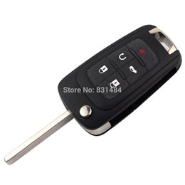 Wholesale Flip Key Alarm - 5 Buttons Flip Folding Remote Key Shell for Buick Excelle Verano LaCrosse Regal Car Alarm Housing Keyless Fob Case