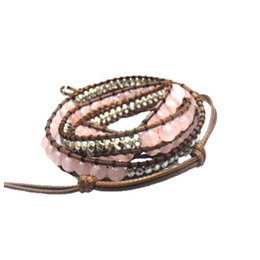 Wholesale Rose Gold Leather Wrap - Wholesale-Natural Pink Round Rose Quartz 6mm beads wrap bracelet new design handmade wrap immitation leather bracelet