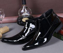 Chaussures décontractées noires brillantes en Ligne-Style coréen Casual Flats Brillant En Cuir Hommes Bottes Noir Formelle Robe De Mariage D'affaires Chaussures Hommes Richelieus Printemps Automne Cheville Bottes Grande Taille