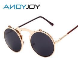 Wholesale Wholesale Steampunk Glasses - Wholesale- ANDYJOY Retro Metal Steampunk Sunglasses Classic Flip Sun Glasses Fashion Women Men Brand Design Round Mirror lens Oculos De Sol
