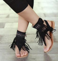 Argentina Verano Nueva Bohemia Flat Sandalias Mujer Borla Mujer Chanclas Vintage Mujeres Zapatos Playa Envío Gratis cheap flat sandals tassels Suministro