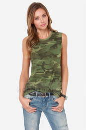 Wholesale Stretch Tank Tops Women - Wholesale-2016 New European And American Fashion Women Tops Camouflage Sleeveless T-shirt Slim Stretch Vest TANK