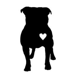 Wholesale El Decals - 7.7*14CM Pitbull Heart Vinyl Decal Creative Animal Window Decoration Car Stickers