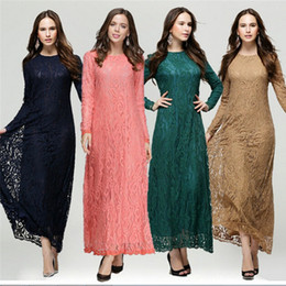 Canada Femmes Dentelle Kaftan Vêtements Femme Solide Musulman Vestido Femme Robes Longues Islamique Lady Ethnique Maxi Abaya Turc Kleider Muslim supplier ethnic ladies clothing Offre