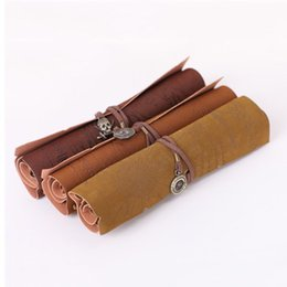 Wholesale Kids School Bags Leather - Wholesale-Retro Vintage Pirate Roll Up PU Leather Pen Pencil Case Bags Treasure Map Kid Party Gift Favor Make up Cosmetic Bag H0003