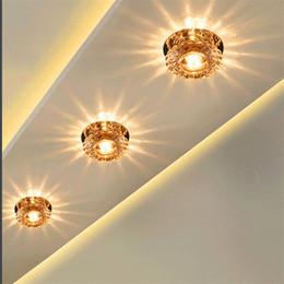 Wholesale Crystal Ceiling Led Spotlight - 3 years warranty 3w LED aisle lights crystal ceiling porch bar corridor lights foyer lights downlight spotlight