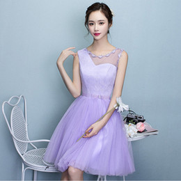 Wholesale Braidsmaid Dresses - short cheap fashion braidsmaid dresses for bridesmaids simple party ball gown sleeveless knee length lace dress tulle X4037