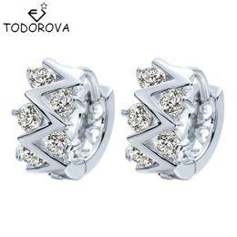 Wholesale Earrings Hoops Wave - Todorova 10pcs Wedding Engagement Jewelry Shining Cubic Zircon Wave Hoop Earring for Women Girls Handmade Gift Accessories