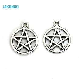 Wholesale Pentacle Charms Wholesale - Wholesale-20pcs Vintage Antique Silver Plated Pentacle Star Charms Pendants for Jewelry Making DIY Handmade 20x16mm B201