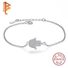 Wholesale Hamsa Charms For Bracelets - BELAWANG Fatima Hand Hamsa Charm Women Bracelets 925 Sterling Silver Crystal Link Jewelry Sliver&Rose Gold for Birthday Anniversary Gift
