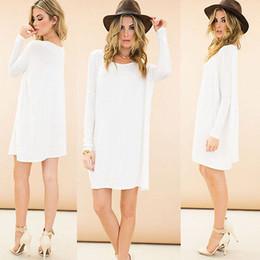 Wholesale Long Sleeve Tunic Top Wholesale - Wholesale-Lady Casual Long Sleeve Long Tunic Solid Top Scoop Neck T-Shirt Dress