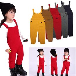 Wholesale Trouser Suspenders Kids - Kids Ins Overalls Knit Suspenders Wool Pants Fashion Ins Suspender Trousers Casual Long Pants Ins Straps Pants Overall KKA2180
