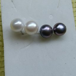 Wholesale 925 Sterling Silver Freshwater Cultured Pearl Oyster Round Stud Earrings MM Plated K White Gold White And Black